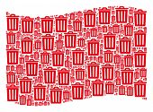 Waving Red Flag Collage. Vector Trash Bin Items Are Combined Into Mosaic Red Waving Flag Collage. Pa poster