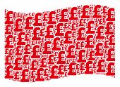 Waving Red Flag Collage. Vector Pound Sterling Icons Are Arranged Into Conceptual Red Waving Flag Co poster