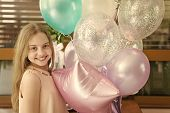 Smiling Beauty. Girl With Balloons Celebrate Birthday In Cafe. Birthday Party. Ideas How To Celebrat poster