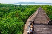 Happy Family Travel, Explore Menjangan Rainforest Near Pemuteran. Mother, Kids Relax On Lounge Veran poster
