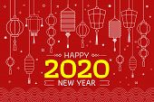 Happy Chinese New Year. Oriental Happy Chinese New Year 2020. Chinese New Year Lettering And Chinese poster