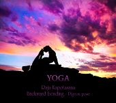 image of raja  - Yoga Raja Kapotasana backward bending pose by Man in silhouette on the rock outdoors at mountains and cloudy sky background - JPG