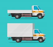 Cargo Trucks Or Lorry And Delivery Automobiles Or Vehicle Vector Set, Flat Cartoon Freight Industry  poster