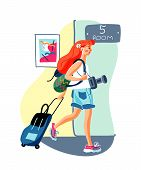 Dormitory Check In Flat Vector Illustration. Hotel Lodger With Luggage, Female Student Cartoon Chara poster