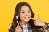 She Had Her Baby Tooth Out. Happy Child Show Milk Tooth Removed. Small Girl With Open Mouth And Toot poster