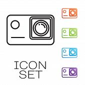 Black Line Action Extreme Camera Icon Isolated On White Background. Video Camera Equipment For Filmi poster