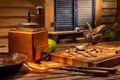 Vintage Still Life With Old Copper Vintage Jug On A Wooden Brown Table. Still Life With Old Coffee M poster