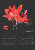 Beautiful Calendar Design For 2020 Year With Dancing Girl, Big Lily Flower And Treble Clef On Black  poster