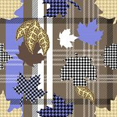 Seamless Vector Pattern With Botanical Motifs, Checkered Background And Hounds Tooth Elements. poster