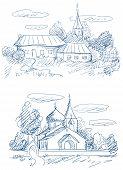 Постер, плакат: Сельской местности пейзажи с церкви и дома вектор