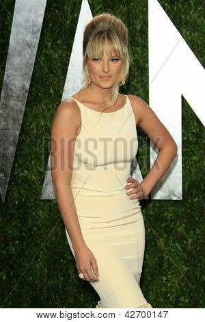 WEST HOLLYWOOD, CA - FEB 24: Genevieve Morton at the Vanity Fair Oscar Party at Sunset Tower on February 24, 2013 in West Hollywood, California