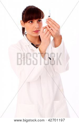 Beautiful woman in doctor's uniform isolated over white background