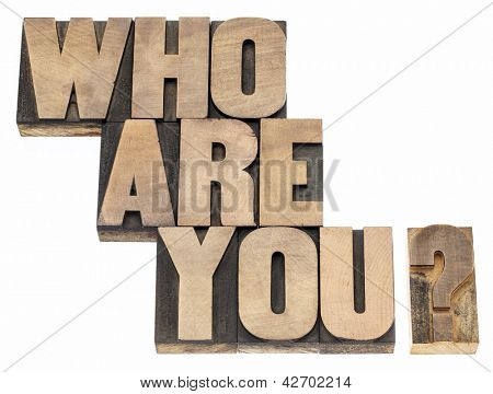 Who are you question - isolated text in vintage letterpress wood type printing blocks