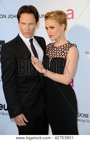 LOS ANGELES - FEB 24:  Stephen Moyer, Anna Paquin arrive at the Elton John Aids Foundation 21st Academy Awards Viewing Party at the West Hollywood Park on February 24, 2013 in West Hollywood, CA