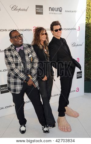 LOS ANGELES - FEB 24:  Randy Jackson, Steven Tyler, Jim Carrey arrive at the Elton John 21st Academy Awards Viewing Party at the West Hollywood Park on February 24, 2013 in West Hollywood, CA