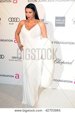 LOS ANGELES - FEB 24:  Kim Kardashian arrives at the Elton John Aids Foundation 21st Academy Awards Viewing Party at the West Hollywood Park on February 24, 2013 in West Hollywood, CA