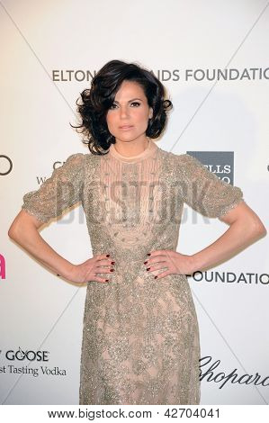 LOS ANGELES - FEB 24:  Lana Parrilla arrives at the Elton John Aids Foundation 21st Academy Awards Viewing Party at the West Hollywood Park on February 24, 2013 in West Hollywood, CA