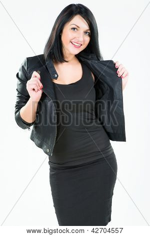 attractive young brunette in a black jacket