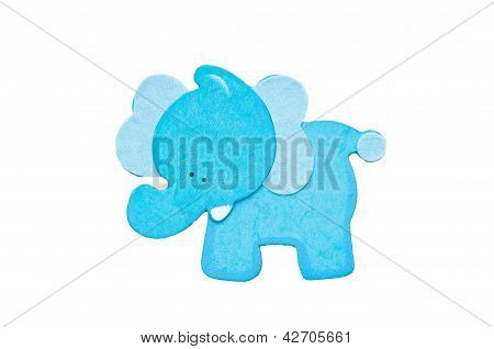 Blue Elephant On White