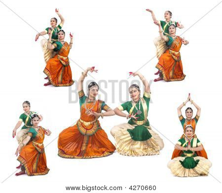 Female Bharathanatyam Dancers Of Indian Origin