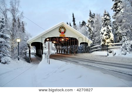 Covered Bridge With Lighted Wreath