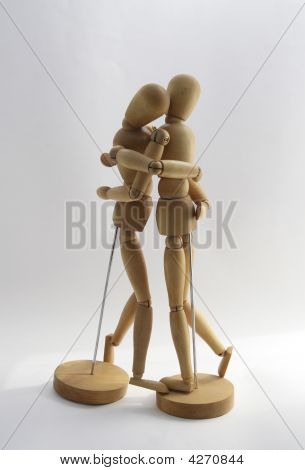 Wooden Couple Tenderness