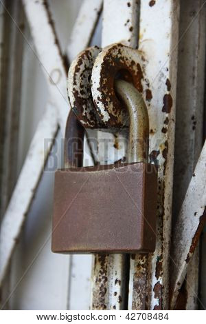 Padlock On Old Gate