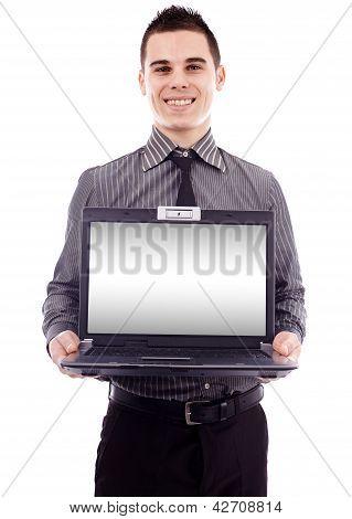 Businessman Presenting His Laptop