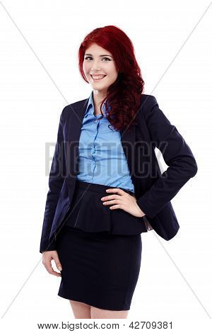 Smiling Businesswoman In Closeup Pose