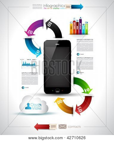 Infographics Desgin sjabloon met high-tech smartphone met touchscreen en een heleboel papier tags