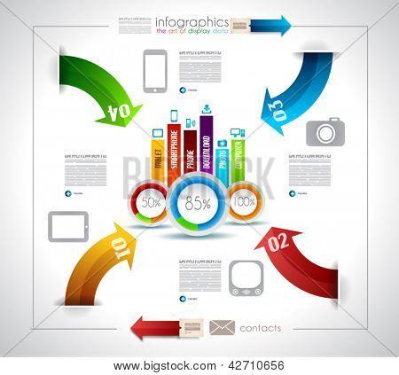 Plantilla de diseño de infografía con las etiquetas de papel. Idea para Mostrar información, clasificación y estadísticas de ingenio