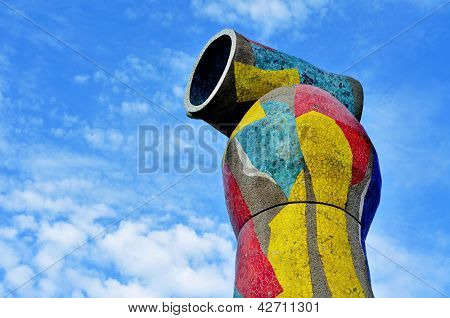 BARCELONA, SPAIN - AUGUST 18: Sculpture Dona i Ocell on August 18, 2011 in Barcelona, Spain. This sculpture, designed by famous Joan Miro, presides over the park that bears the name of the artist