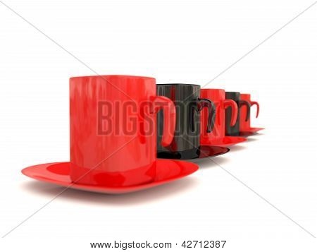 Coffee Cup Row. 3D Illustration
