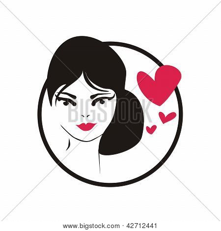 Young girl with love on her mind icon. Vector illustration with thinking woman and hearts
