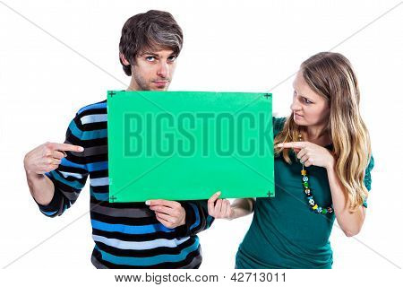 Couple With Green Board