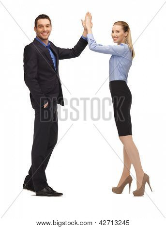 bright picture of man and woman giving a high five.