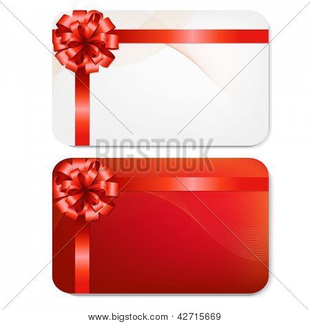2 Gift Cards With Red Bows, Isolated On White Background