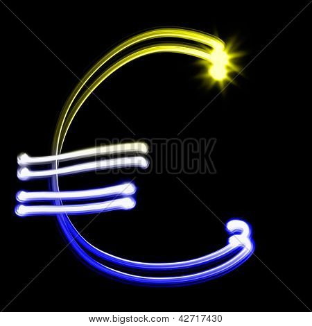 Euro sign - Created by light colorful numbers