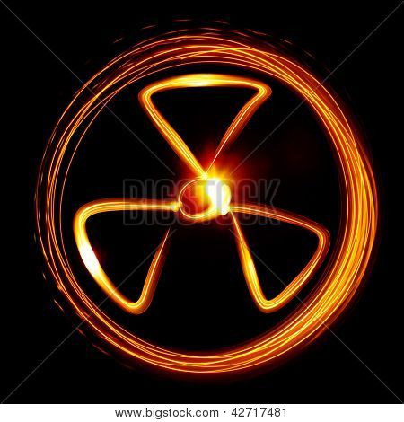 Radiation sign created by light