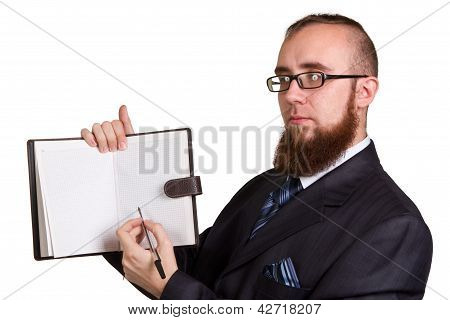 Businessman Holding A Pen Requesting A Signature On A Document Isolated On White