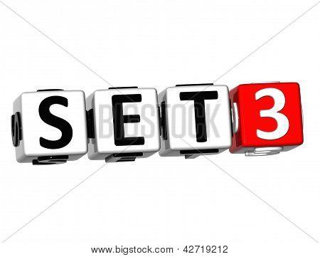 3D Set Button Click Here Block Text