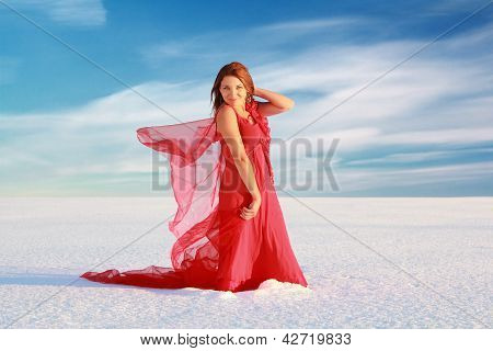 Girl At Snow Desert