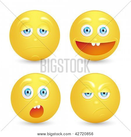 Vector illustration set of emoticons.