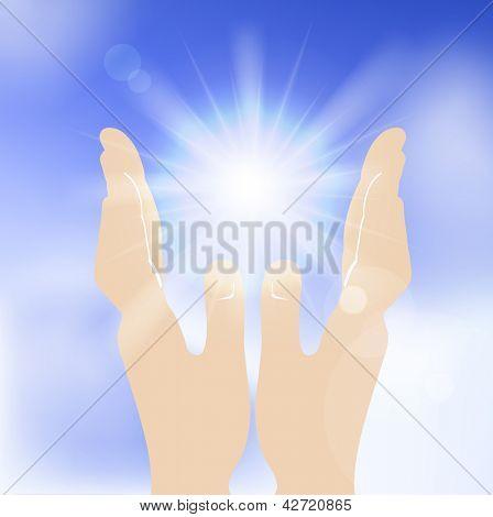 Sun in human hands against blue sky. Vector illustration.