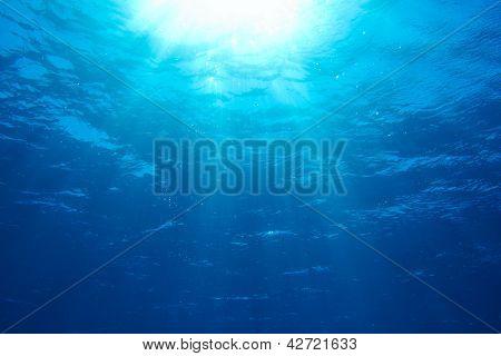 Sunbeams in the blue water