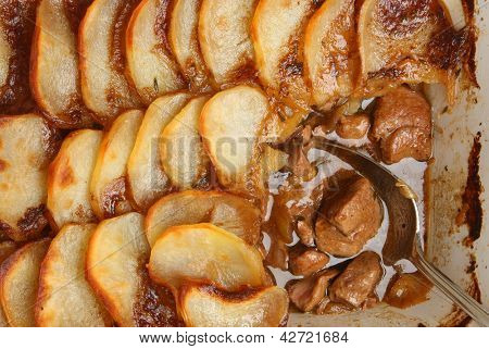 Lancashire hotpot. Traditional dish made from lamb, kidney, onions, potatoes and herbs.