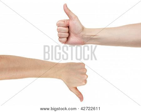 Adult Man Hands Shows Like And Dislike