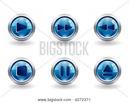 Grupo de botones de Media brillante