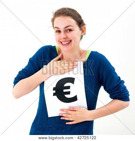 Portrait junge Frau mit Board-Euro-Marke