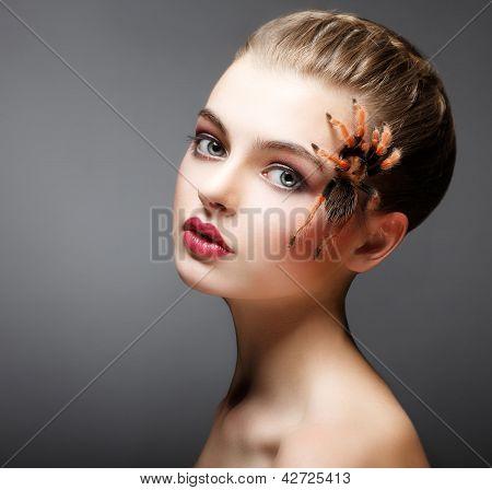 Fantasy. Spider Sitting On Pretty Woman Face. Creativity